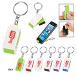 Customized Phone Stand And Screen Cleaner Combo Keychain