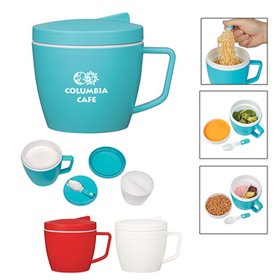 14 oz. Thermal Mug With Spoon And Fork Set