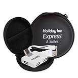 personalized USB hub and cable in round zipper case