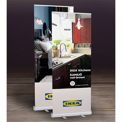 economy vinyl retractable banner stand - 33.5 x 82