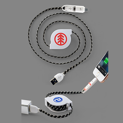 Retract It Lighted 2-In-1 Braided Charging Cable