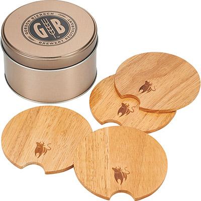 Bullware Wood Coaster Set