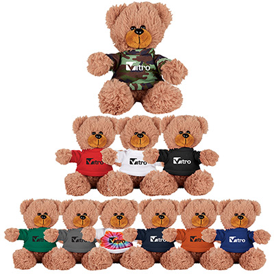 6 sitting plush bear with shirt