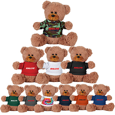 8 sitting plush bear with shirt