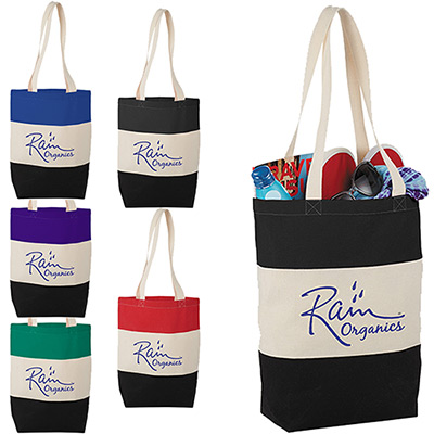 8oz. cotton color block tote