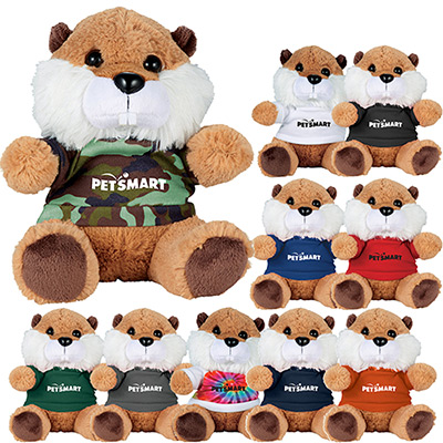 6 beaver plush animal with shirt
