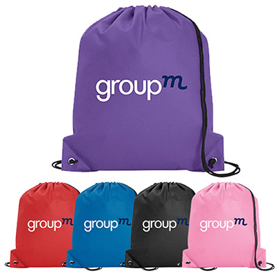 non-woven poly pro drawstring bag - full color