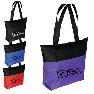 Two-Tone Tote with Zipper