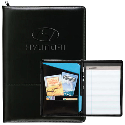 zippered script padfolio