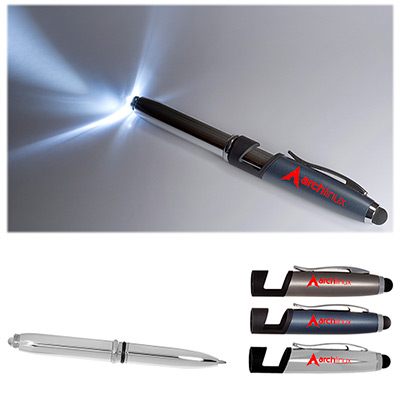 Group Photo 4-in-1 Ballpoint Pen, LED Light, Phone Stand and