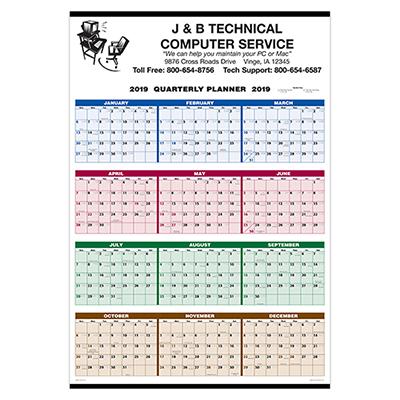 single sheet wall calendar - quarterly