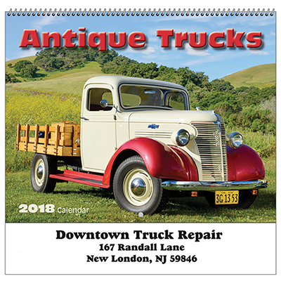 antique trucks wall calendar - spiral