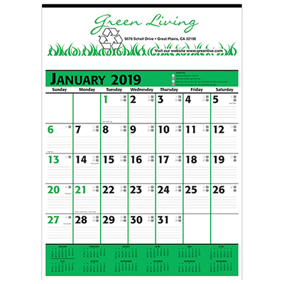 Commercial Planner Wall Calendar - Green & Black 2019