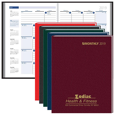 Logoed Ruled Monthly Format Stitched To Cover Desk Planner 2019