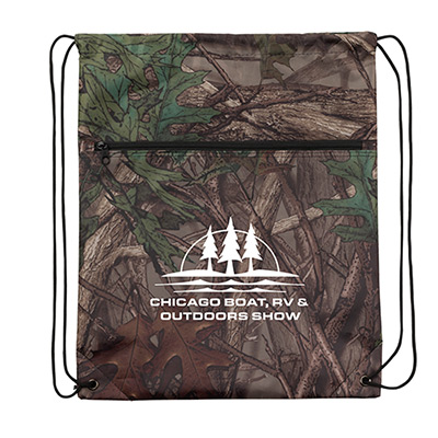 outdoor camo zipper drawstring backpack