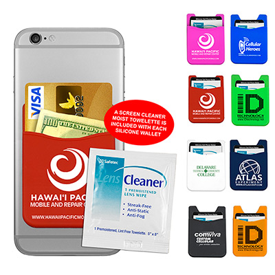 Silicone Cell Phone Wallet & Screen Cleaner