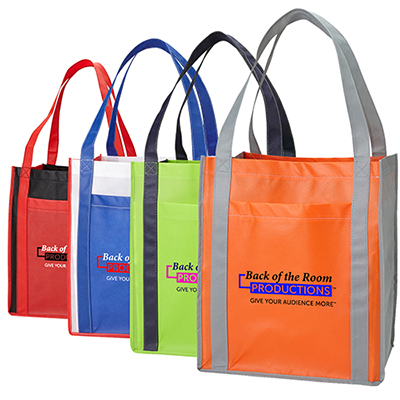 large grocery tote with pocket - full color