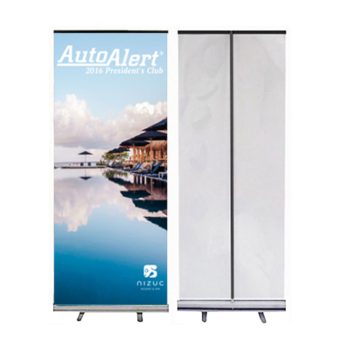 retractable vinyl banner with silver stand