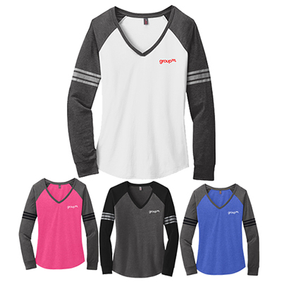district made® ladies game long sleeve v-neck tee