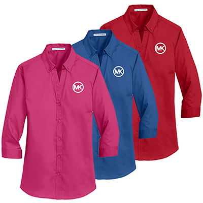 port authority® ladies 3/4-sleeve superpro™ twill shirt