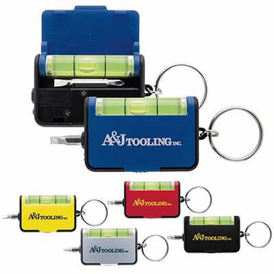 keychain tool set with level
