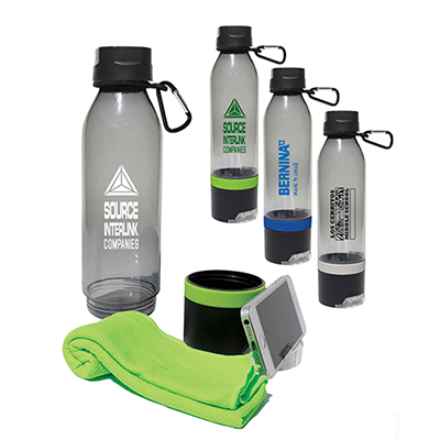 sports bottle with cool towel & phone stand