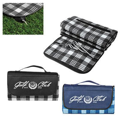 picnic blanket with removable stakes