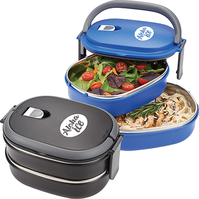 two tier insulated oval lunch box