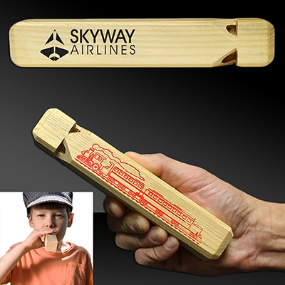 Promotional wooden train whistle | Fun Promotional Items - Promo Direct