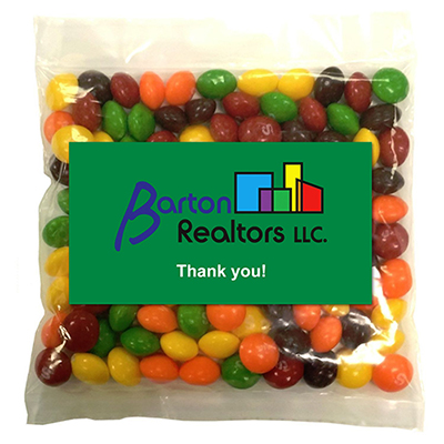 business card magnet w/large bag of skittles