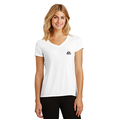 district made® ladies perfect tri® v-neck tee (white)