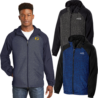sport-tek®heather colorblock raglan hooded