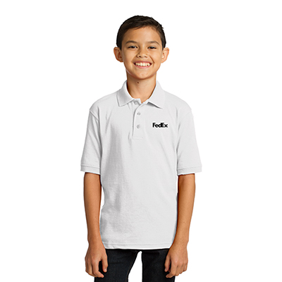 Port & Company® Youth Core Blend Jersey Knit Polo (White)