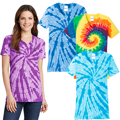 Port & Company® Ladies Tie-Dye V-Neck Tee