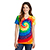 Ladies Tie Dye V Neck Tee rainbow 28994