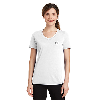 port & company® ladies performance blend v-neck tee (white)