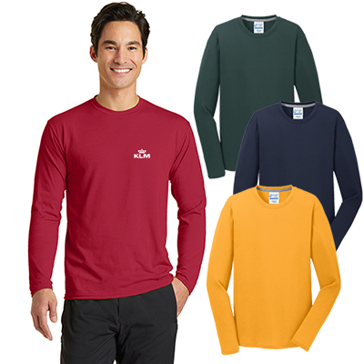port & company® long sleeve performance blend tee (color)