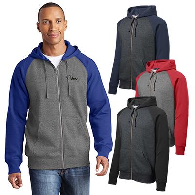 sport-tek®raglan colorblock full-zip hooded fleece jacket