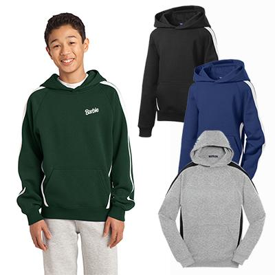 sport-tek®youth sleeve stripe pullover hooded sweatshirt