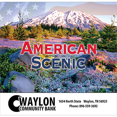 american scenic wall calendar - stapled