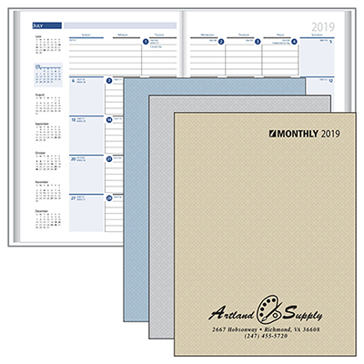 stitched monthly desk planner
