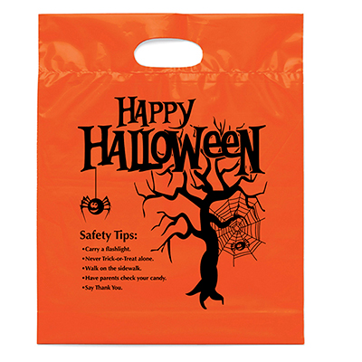 orange die cut handle bags - happy halloween