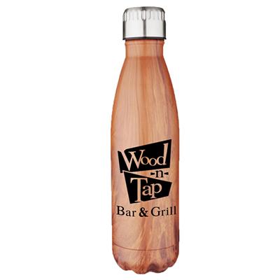 17 oz. stainless vacuum pop bottles - woodgrain