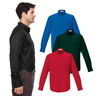 core 365 mens long-sleeve twill shirt
