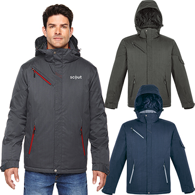 north end mens rivet textured twill insulated jacket