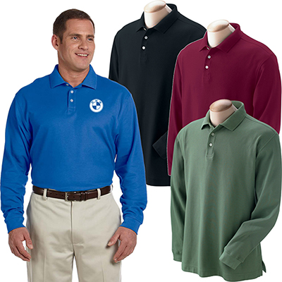devon & jones mens pima pique long-sleeve polo
