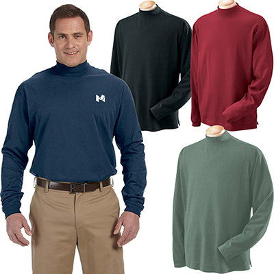 devon & jones adult sueded mock turtleneck t-shirt