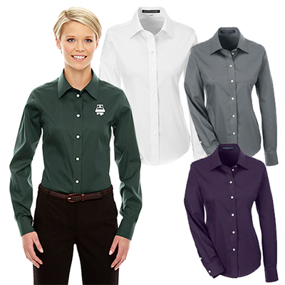 devon & jones ladies solid stretch twill shirt