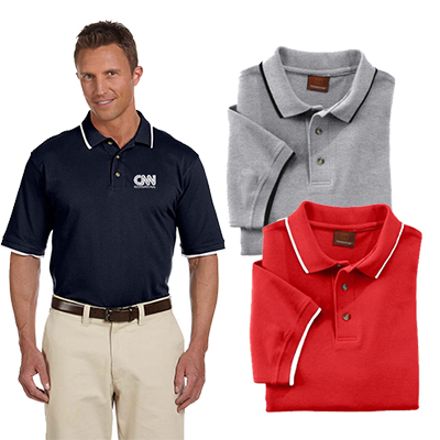 harriton adult 6 oz. pique polo with tipping