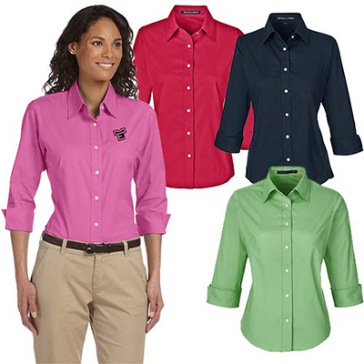devon & jones ladies perfect fit™ 3/4-sleeve shirt